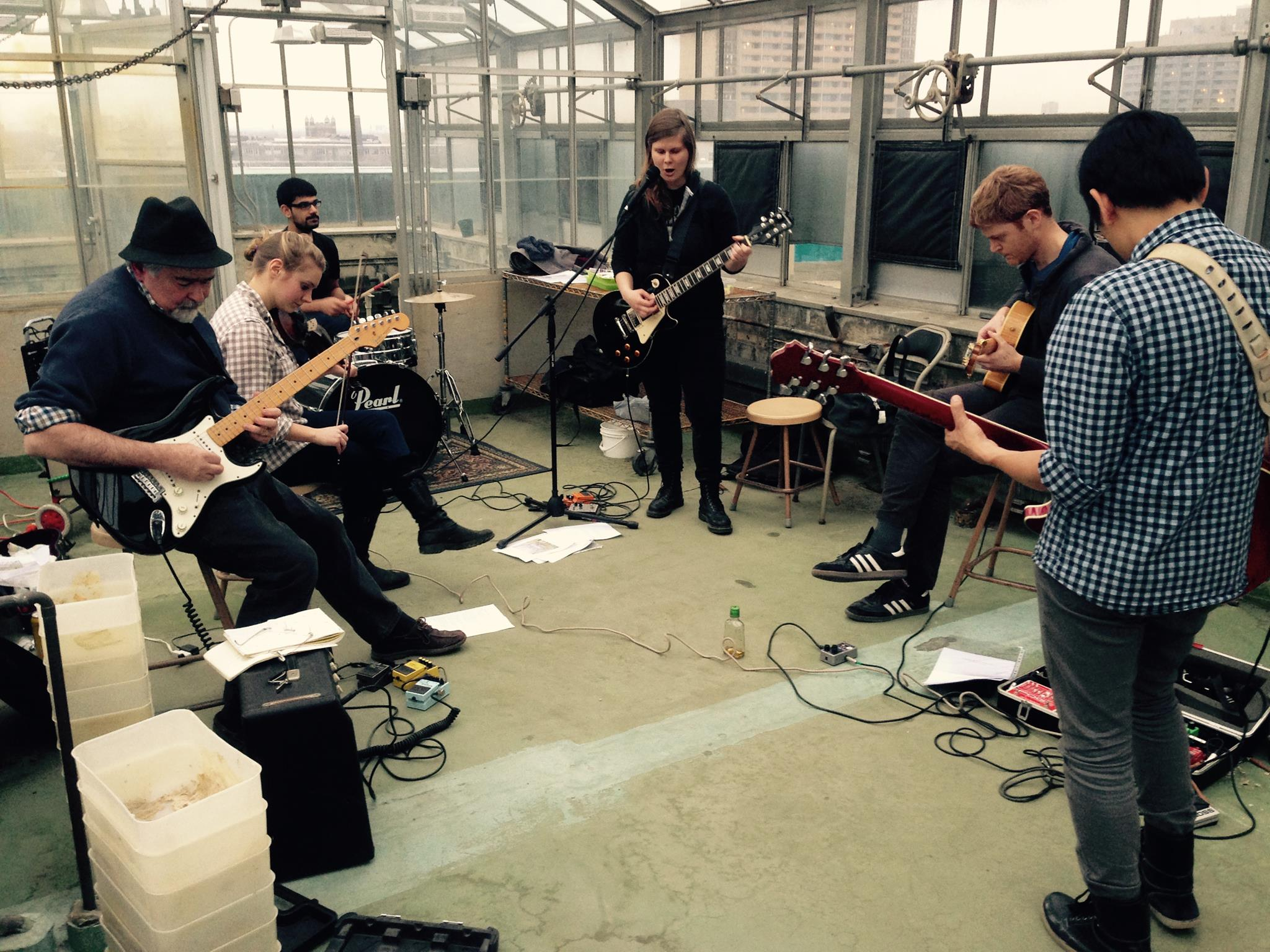 Art jamming with the greenhouse band.